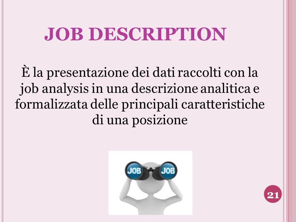 JOB DESCRIPTION È la presentazione dei dati raccolti con la job analysis in una descrizione analitica e formalizzata delle principali caratteristiche