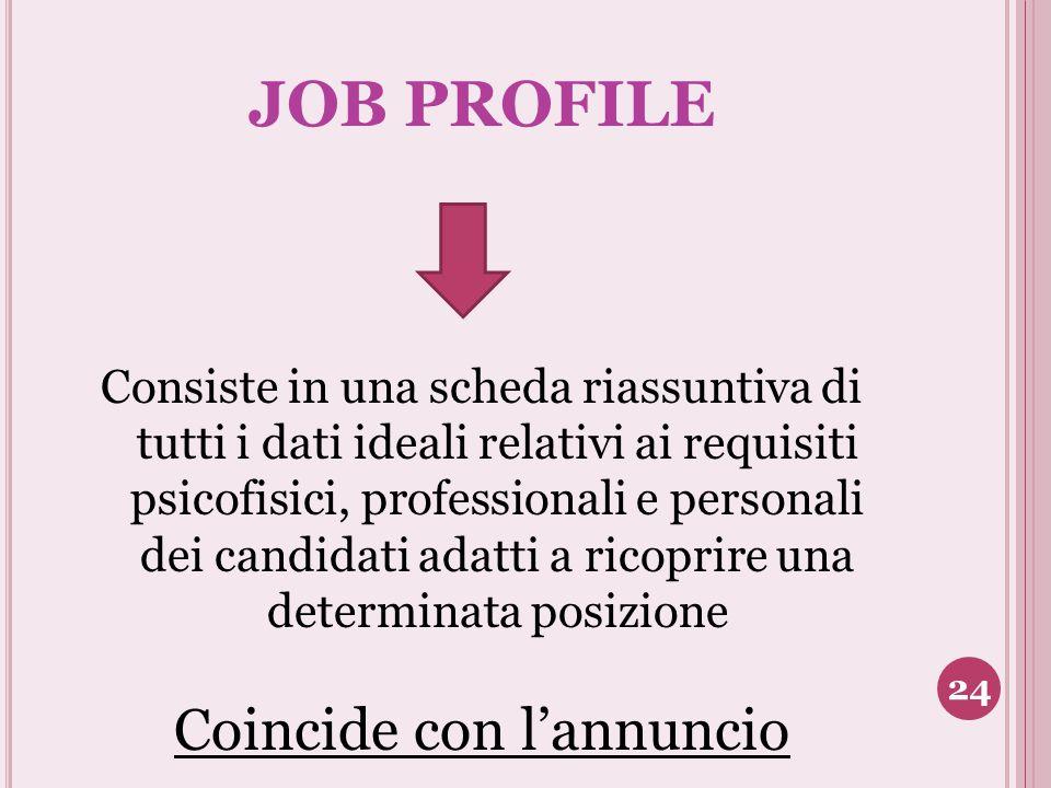 JOB PROFILE Consiste in una scheda riassuntiva di tutti i dati ideali relativi ai requisiti psicofisici, professionali e personali dei candidati adatt