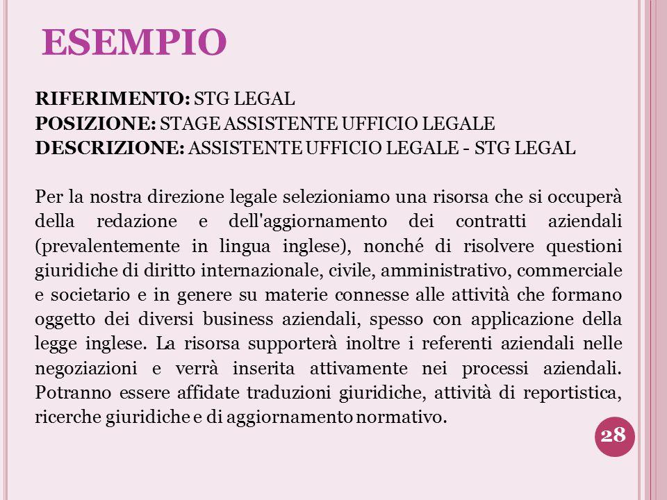 ESEMPIO RIFERIMENTO: STG LEGAL POSIZIONE: STAGE ASSISTENTE UFFICIO LEGALE DESCRIZIONE: ASSISTENTE UFFICIO LEGALE - STG LEGAL Per la nostra direzione l