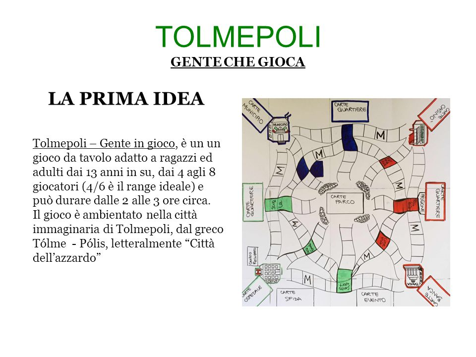 TOLMEPOLI GENTE CHE GIOCA IL TABELLONE Questo è il tabellone di gioco su cui si svolgerà la partita, è la rappresentazione immaginaria della nostra città: Tolmepoli.