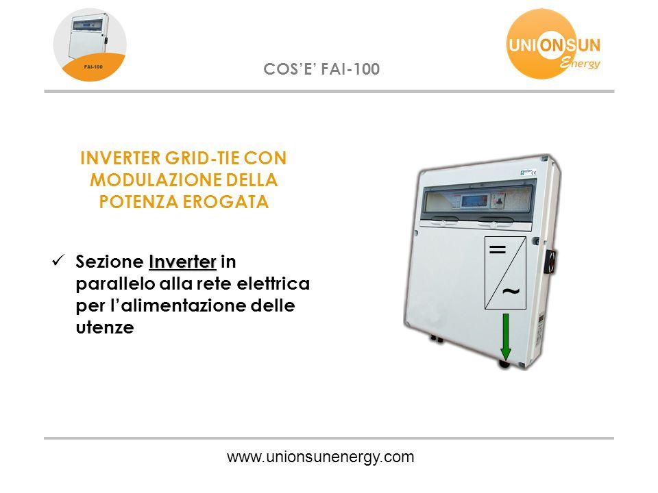 www.unionsunenergy.com COS'E' FAI-100 INVERTER GRID-TIE CON MODULAZIONE DELLA POTENZA EROGATA Inverter Sezione Inverter in parallelo alla rete elettrica per l'alimentazione delle utenze ~