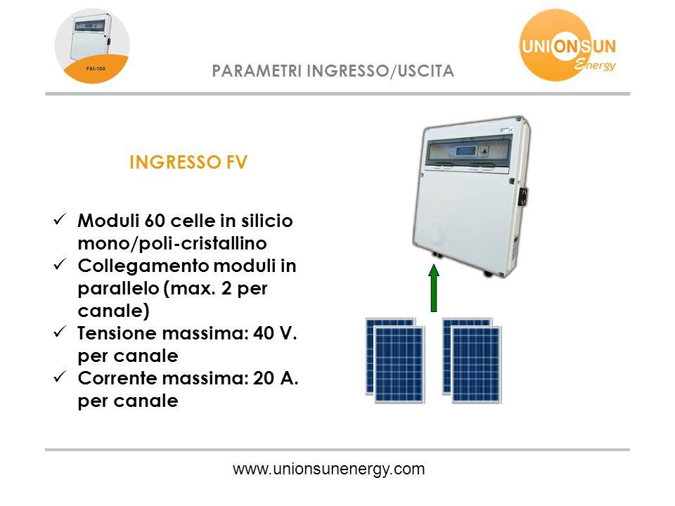 www.unionsunenergy.com PARAMETRI INGRESSO/USCITA INGRESSO FV Moduli 60 celle in silicio mono/poli-cristallino Collegamento moduli in parallelo (max.