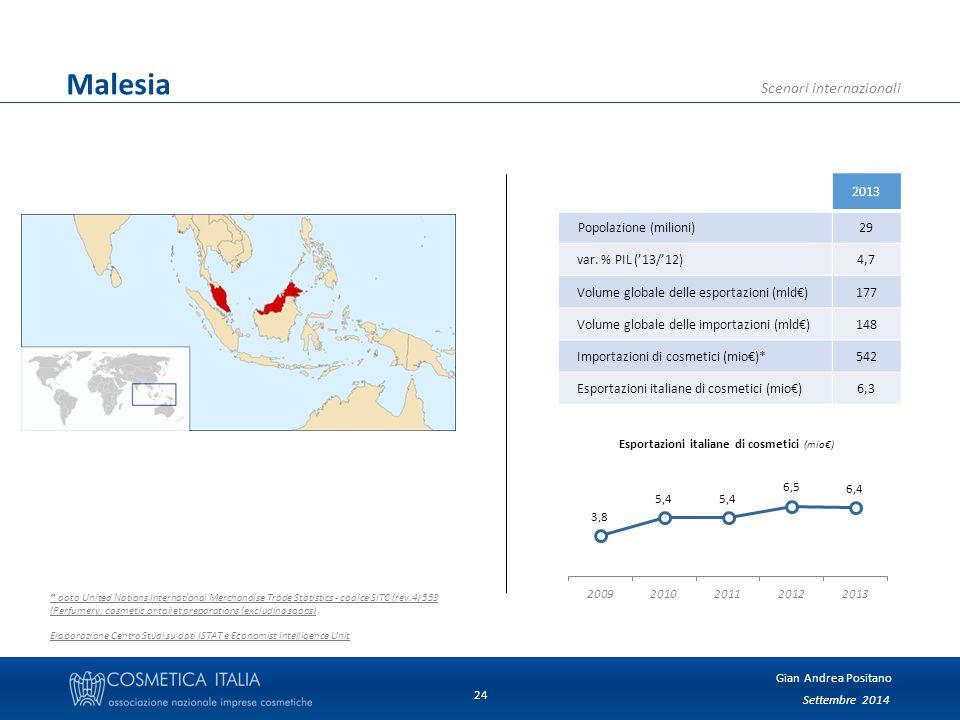Settembre 2014 Gian Andrea Positano Scenari internazionali 24 Malesia 2013 Popolazione (milioni)29 var.