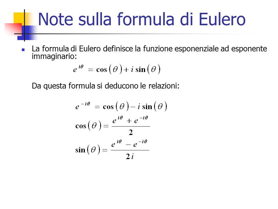 Note sulla formula di Eulero La formula di Eulero definisce la funzione esponenziale ad esponente immaginario: Da questa formula si deducono le relazi