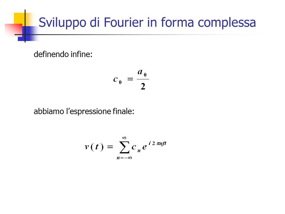 Sviluppo di Fourier in forma complessa definendo infine: abbiamo l'espressione finale:
