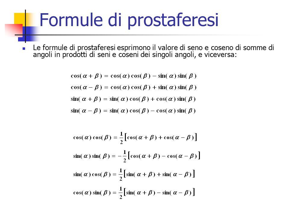 Formule di prostaferesi Le formule di prostaferesi esprimono il valore di seno e coseno di somme di angoli in prodotti di seni e coseni dei singoli angoli, e viceversa: