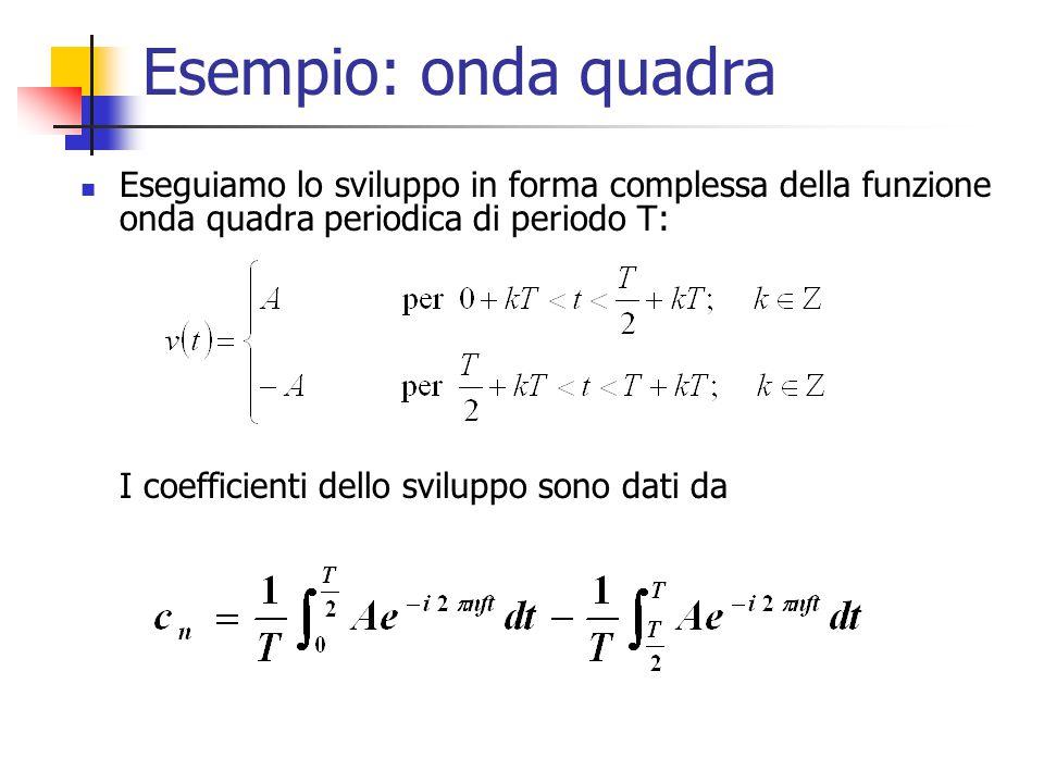 Esempio: onda quadra Eseguiamo lo sviluppo in forma complessa della funzione onda quadra periodica di periodo T: I coefficienti dello sviluppo sono dati da