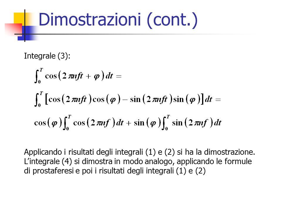 Dimostrazioni (cont.) Integrale (3): Applicando i risultati degli integrali (1) e (2) si ha la dimostrazione.