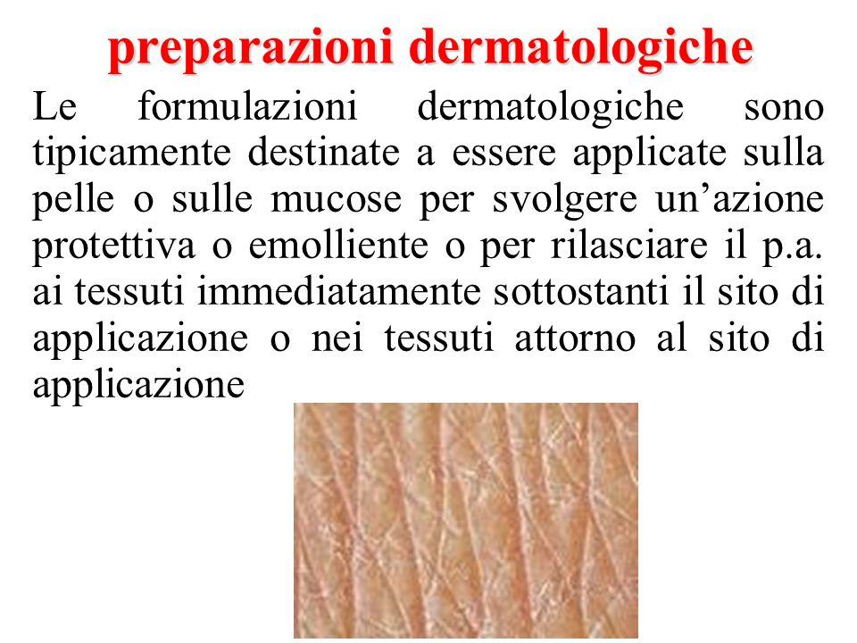 Le formulazioni dermatologiche sono tipicamente destinate a essere applicate sulla pelle o sulle mucose per svolgere un'azione protettiva o emolliente