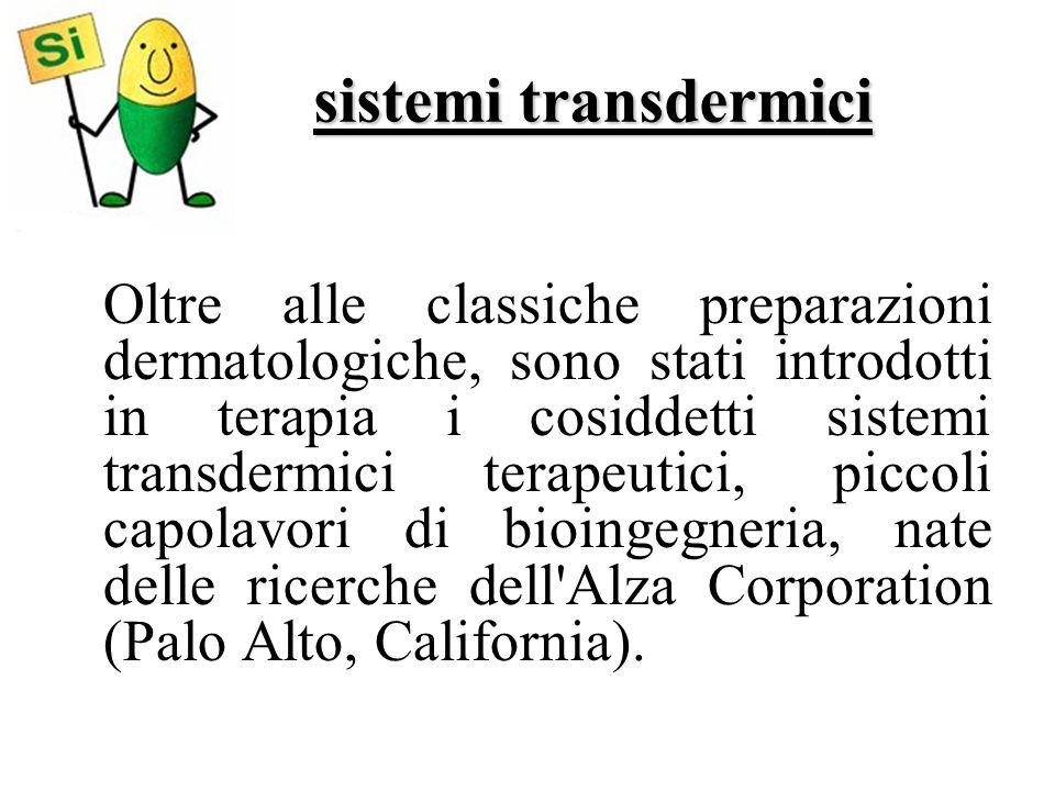sistemi transdermici Oltre alle classiche preparazioni dermatologiche, sono stati introdotti in terapia i cosiddetti sistemi transdermici terapeutici,