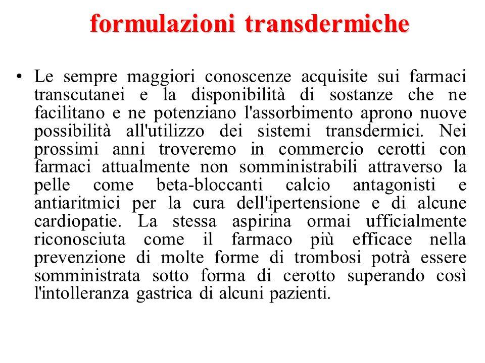 formulazioni transdermiche Le sempre maggiori conoscenze acquisite sui farmaci transcutanei e la disponibilità di sostanze che ne facilitano e ne pote