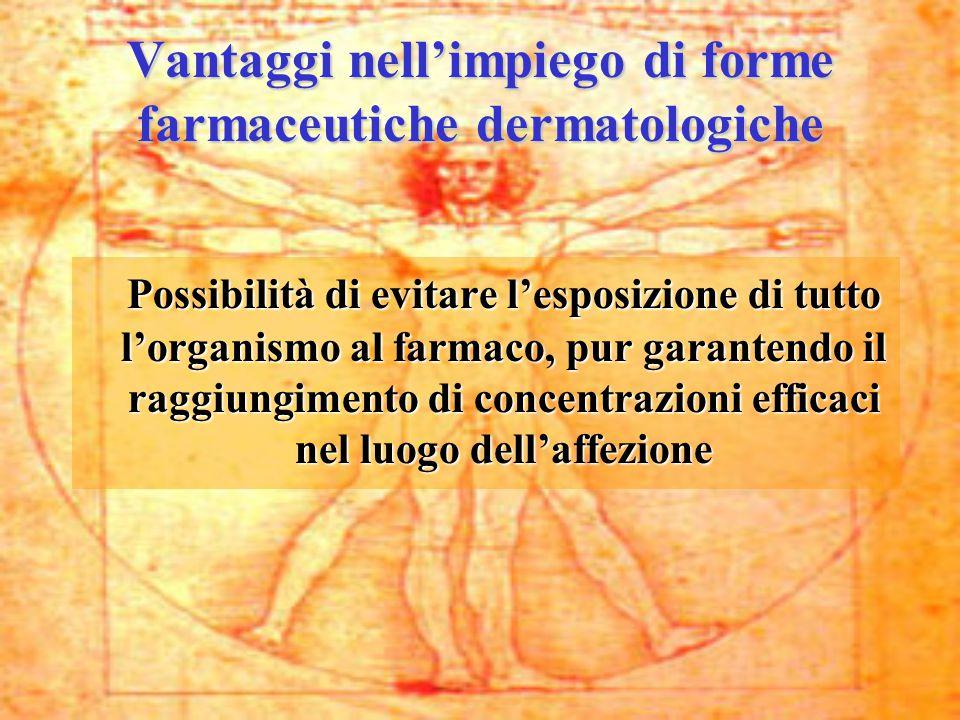 Vantaggi nell'impiego di forme farmaceutiche dermatologiche Possibilità di evitare l'esposizione di tutto l'organismo al farmaco, pur garantendo il ra
