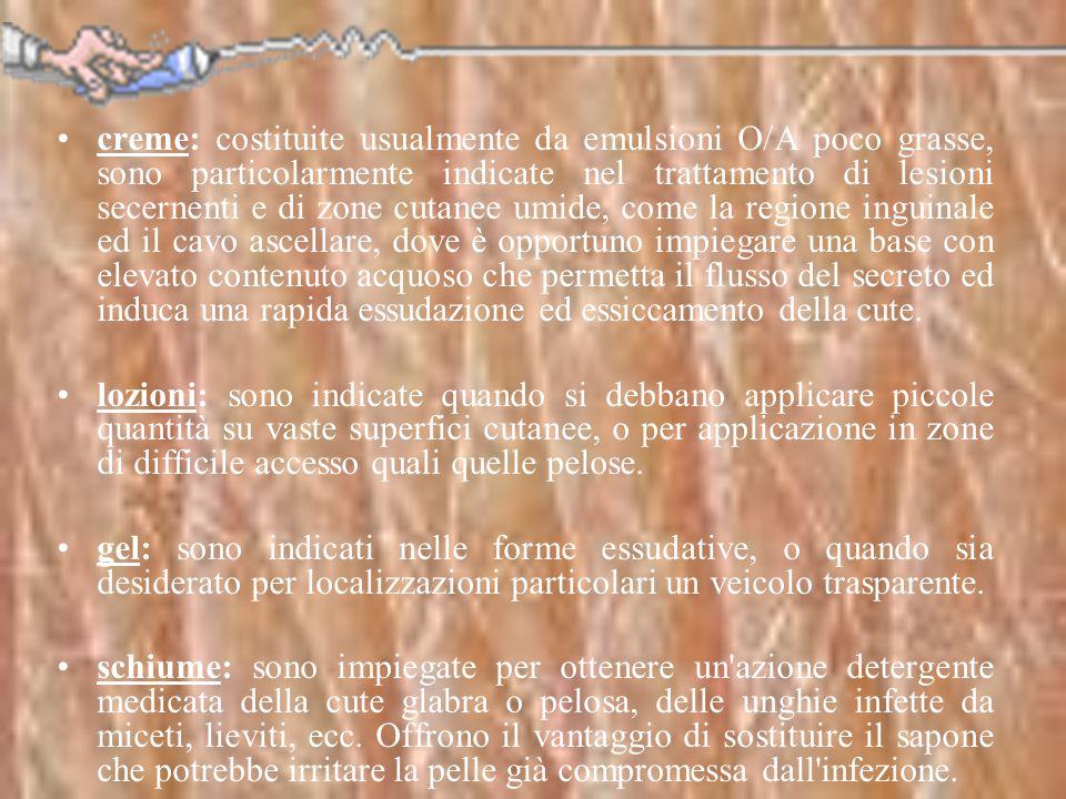 creme: costituite usualmente da emulsioni O/A poco grasse, sono particolarmente indicate nel trattamento di lesioni secernenti e di zone cutanee umide