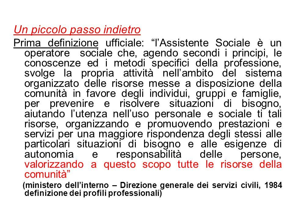 """Un piccolo passo indietro Prima definizione ufficiale: """"l'Assistente Sociale è un operatore sociale che, agendo secondi i principi, le conoscenze ed i"""