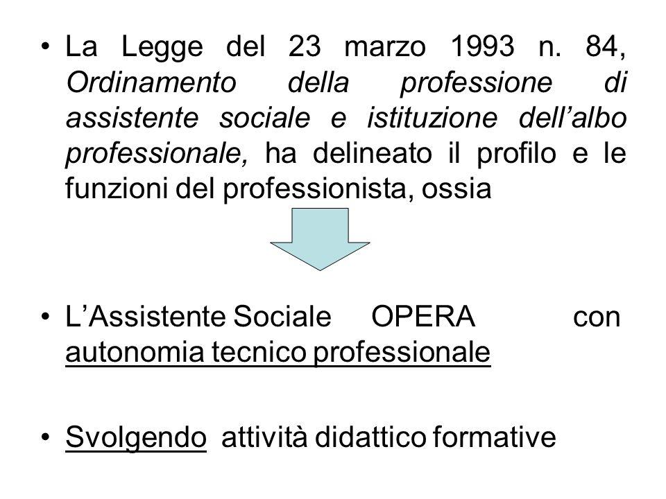 La Legge del 23 marzo 1993 n. 84, Ordinamento della professione di assistente sociale e istituzione dell'albo professionale, ha delineato il profilo e