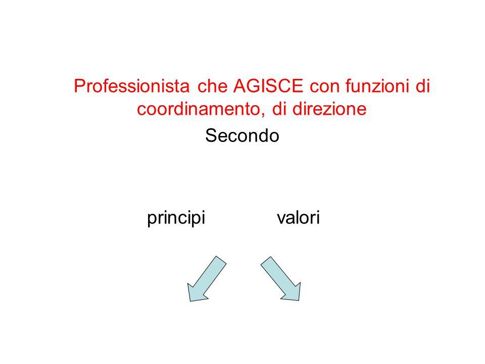Professionista che AGISCE con funzioni di coordinamento, di direzione Secondo principi valori