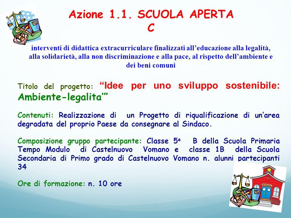 Azione 1.1. SCUOLA APERTA C interventi di didattica extracurriculare finalizzati all'educazione alla legalità, alla solidarietà, alla non discriminazi