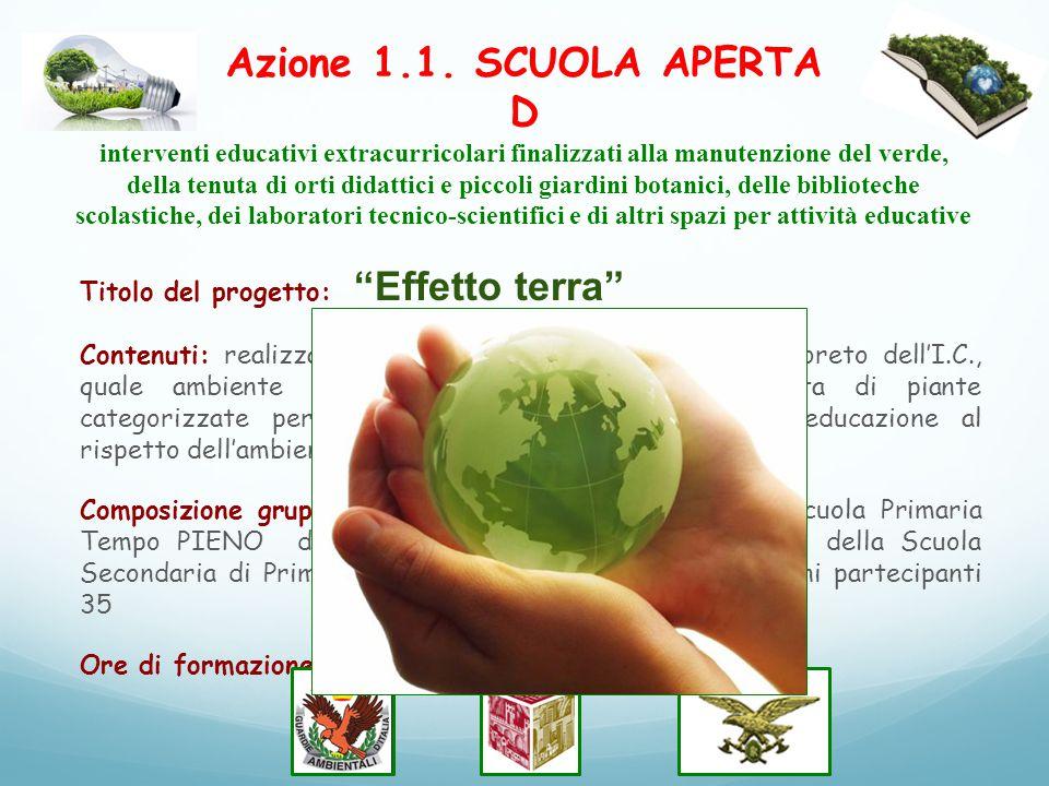 Azione 1.1. SCUOLA APERTA D interventi educativi extracurricolari finalizzati alla manutenzione del verde, della tenuta di orti didattici e piccoli gi