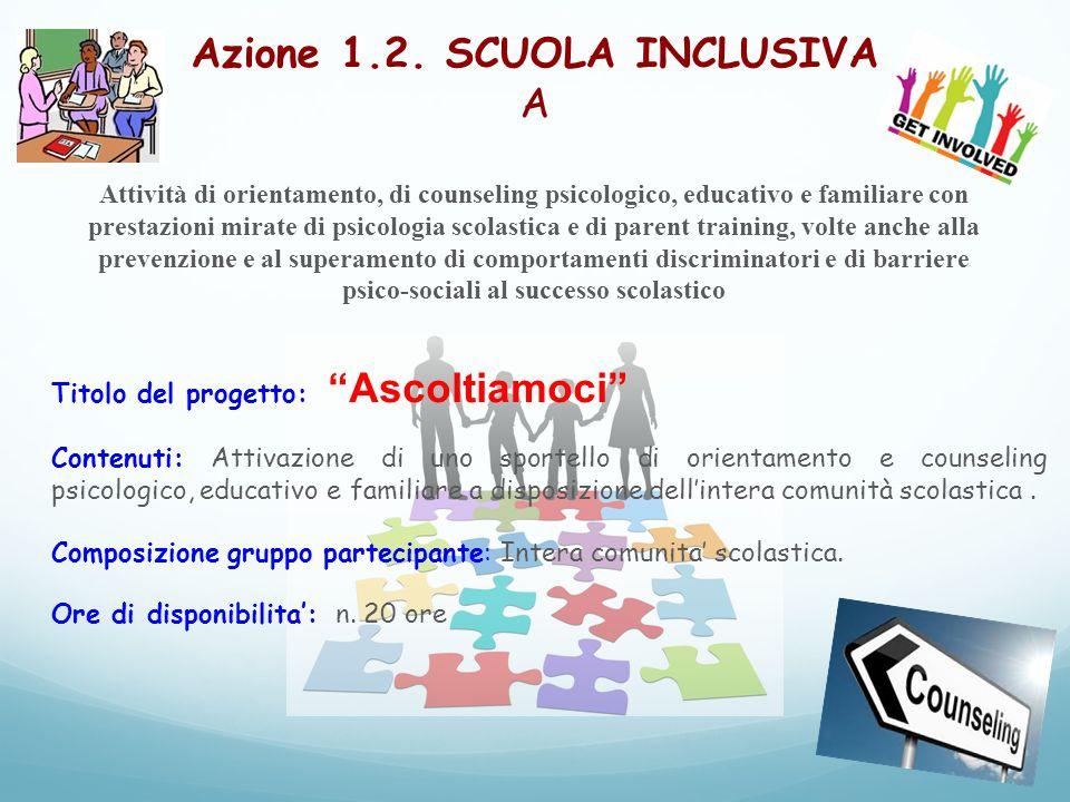 Azione 1.2. SCUOLA INCLUSIVA A Attività di orientamento, di counseling psicologico, educativo e familiare con prestazioni mirate di psicologia scolast