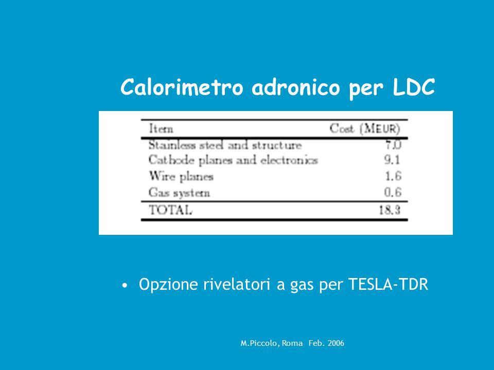 M.Piccolo, Roma Feb. 2006 Calorimetro adronico per LDC Opzione rivelatori a gas per TESLA-TDR