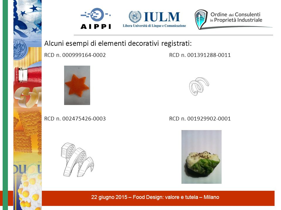 Alcuni esempi di elementi decorativi registrati: RCD n.