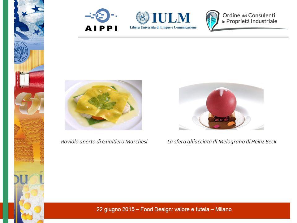 Raviolo aperto di Gualtiero Marchesi La sfera ghiacciata di Melograno di Heinz Beck 22 giugno 2015 – Food Design: valore e tutela – Milano