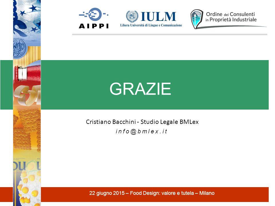 Cristiano Bacchini - Studio Legale BMLex info@bmlex.it GRAZIE 22 giugno 2015 – Food Design: valore e tutela – Milano