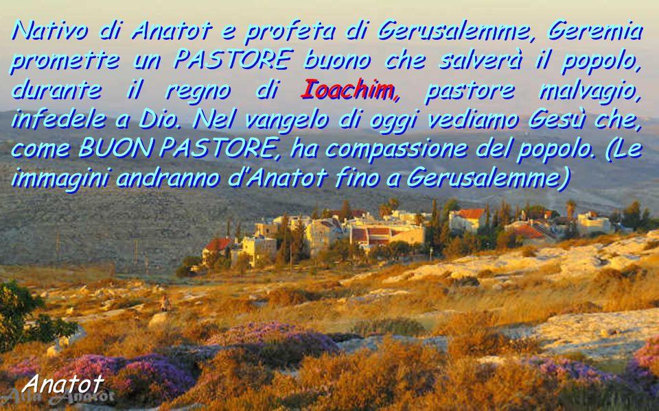 Nativo di Anatot e profeta di Gerusalemme, Geremia promette un PASTORE buono che salverà il popolo, durante il regno di Ioachim, pastore malvagio, infedele a Dio.