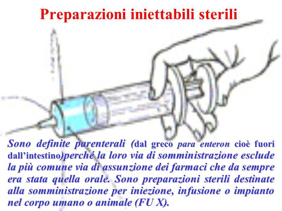 Preparazioni iniettabili sterili Sono definite parenterali ( dal greco para enteron cioè fuori dall'intestino )perché la loro via di somministrazione