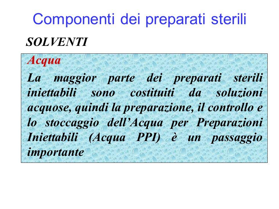 Componenti dei preparati sterili SOLVENTIAcqua La maggior parte dei preparati sterili iniettabili sono costituiti da soluzioni acquose, quindi la prep