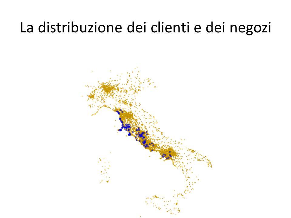 La distribuzione dei clienti e dei negozi