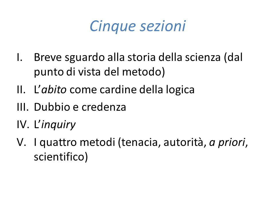 Cinque sezioni I.Breve sguardo alla storia della scienza (dal punto di vista del metodo) II.L'abito come cardine della logica III.Dubbio e credenza IV