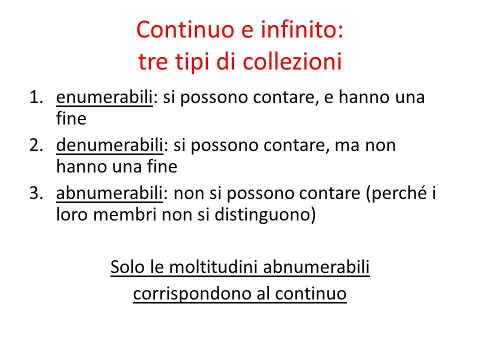 Continuo e infinito: tre tipi di collezioni 1.enumerabili: si possono contare, e hanno una fine 2.denumerabili: si possono contare, ma non hanno una f