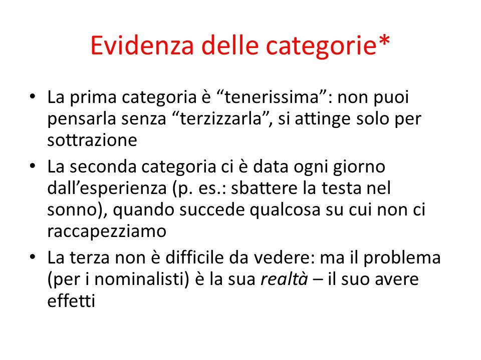 """Evidenza delle categorie* La prima categoria è """"tenerissima"""": non puoi pensarla senza """"terzizzarla"""", si attinge solo per sottrazione La seconda catego"""