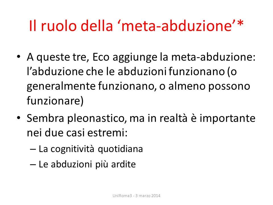 Il ruolo della 'meta-abduzione'* A queste tre, Eco aggiunge la meta-abduzione: l'abduzione che le abduzioni funzionano (o generalmente funzionano, o a