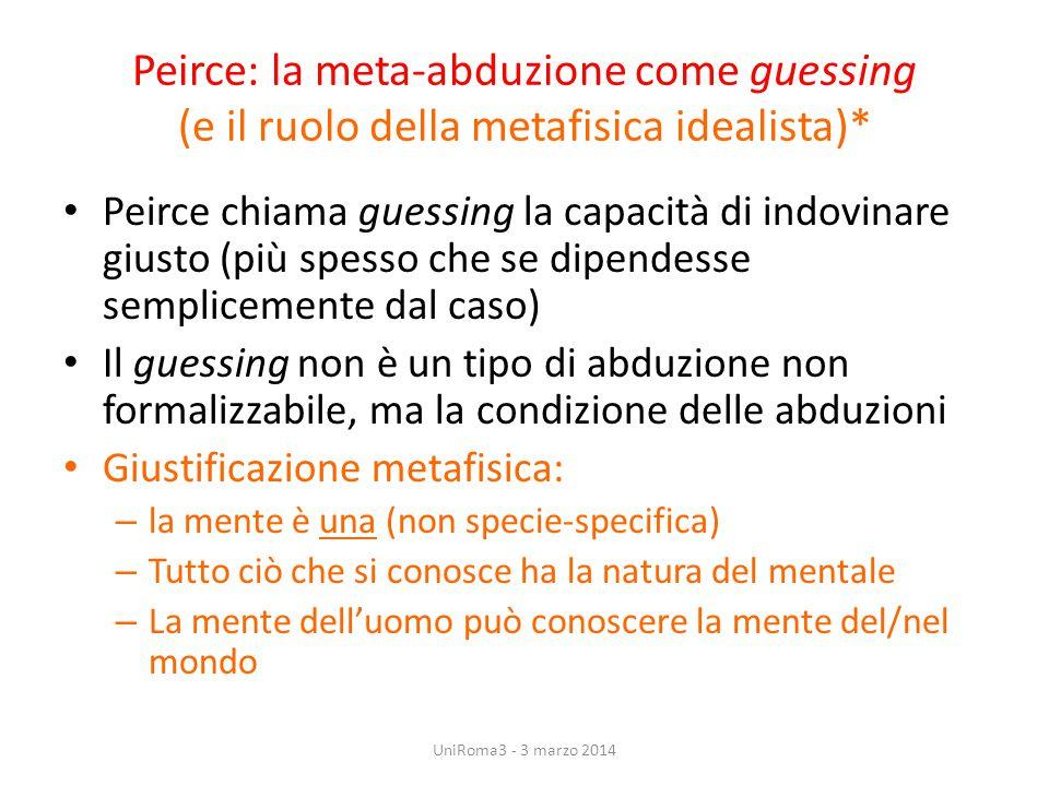 Peirce: la meta-abduzione come guessing (e il ruolo della metafisica idealista)* Peirce chiama guessing la capacità di indovinare giusto (più spesso c