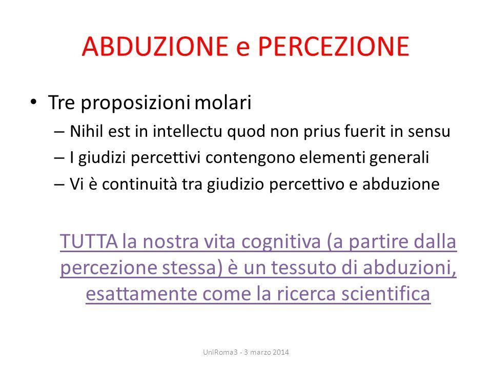 ABDUZIONE e PERCEZIONE Tre proposizioni molari – Nihil est in intellectu quod non prius fuerit in sensu – I giudizi percettivi contengono elementi gen