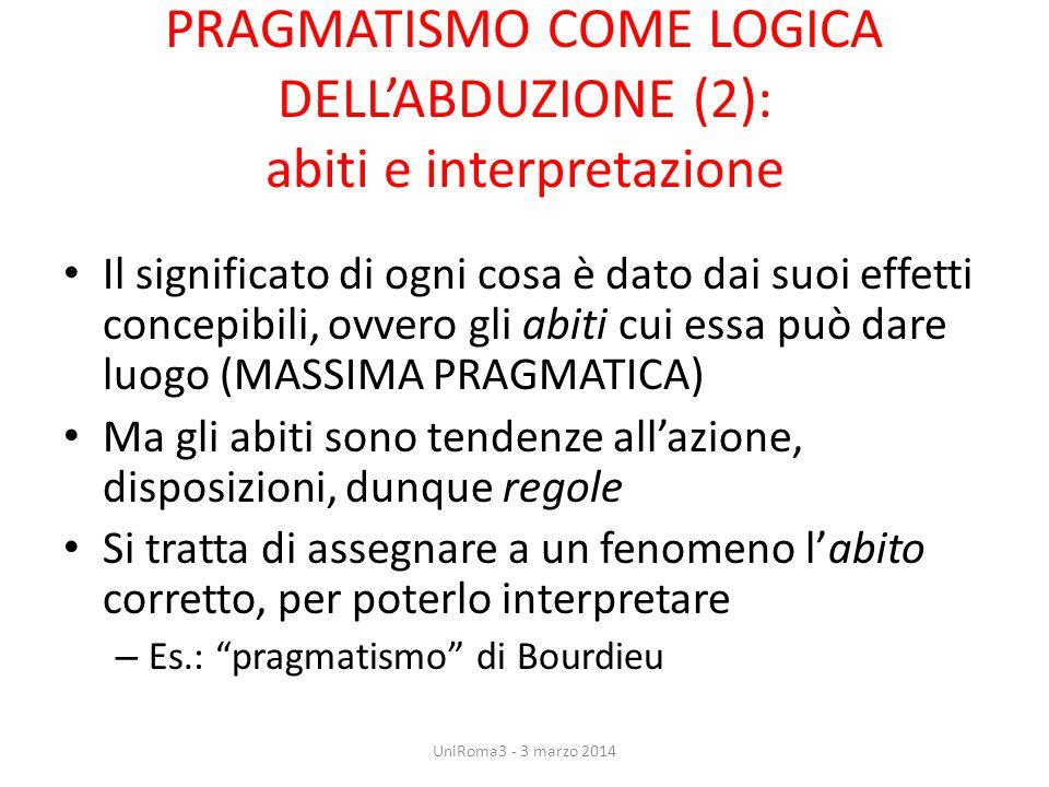PRAGMATISMO COME LOGICA DELL'ABDUZIONE (2): abiti e interpretazione Il significato di ogni cosa è dato dai suoi effetti concepibili, ovvero gli abiti
