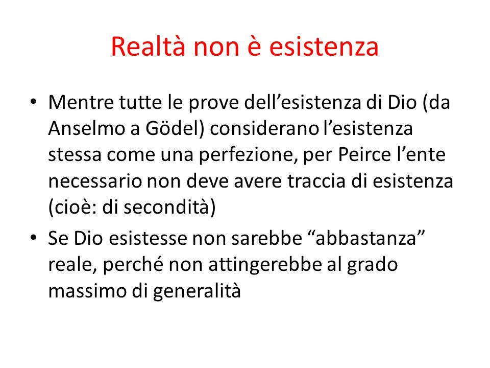 Realtà non è esistenza Mentre tutte le prove dell'esistenza di Dio (da Anselmo a Gödel) considerano l'esistenza stessa come una perfezione, per Peirce