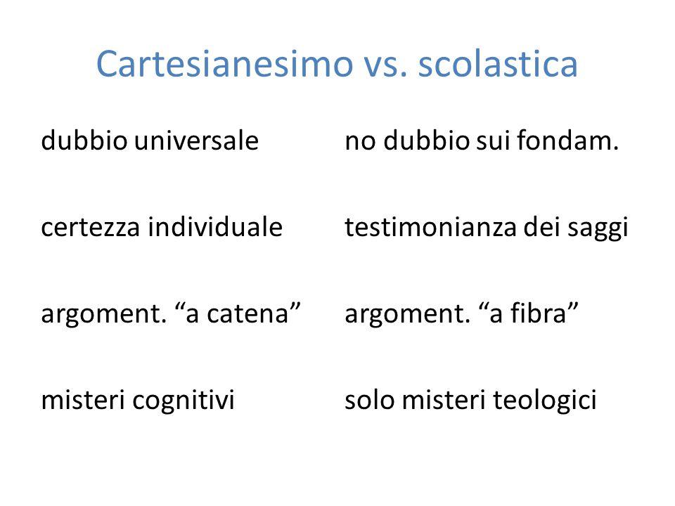 """Cartesianesimo vs. scolastica dubbio universaleno dubbio sui fondam. certezza individualetestimonianza dei saggi argoment. """"a catena""""argoment. """"a fibr"""