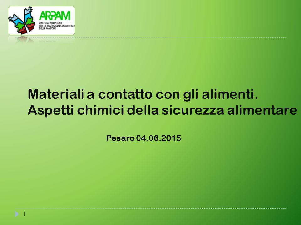 1 Materiali a contatto con gli alimenti. Aspetti chimici della sicurezza alimentare Pesaro 04.06.2015
