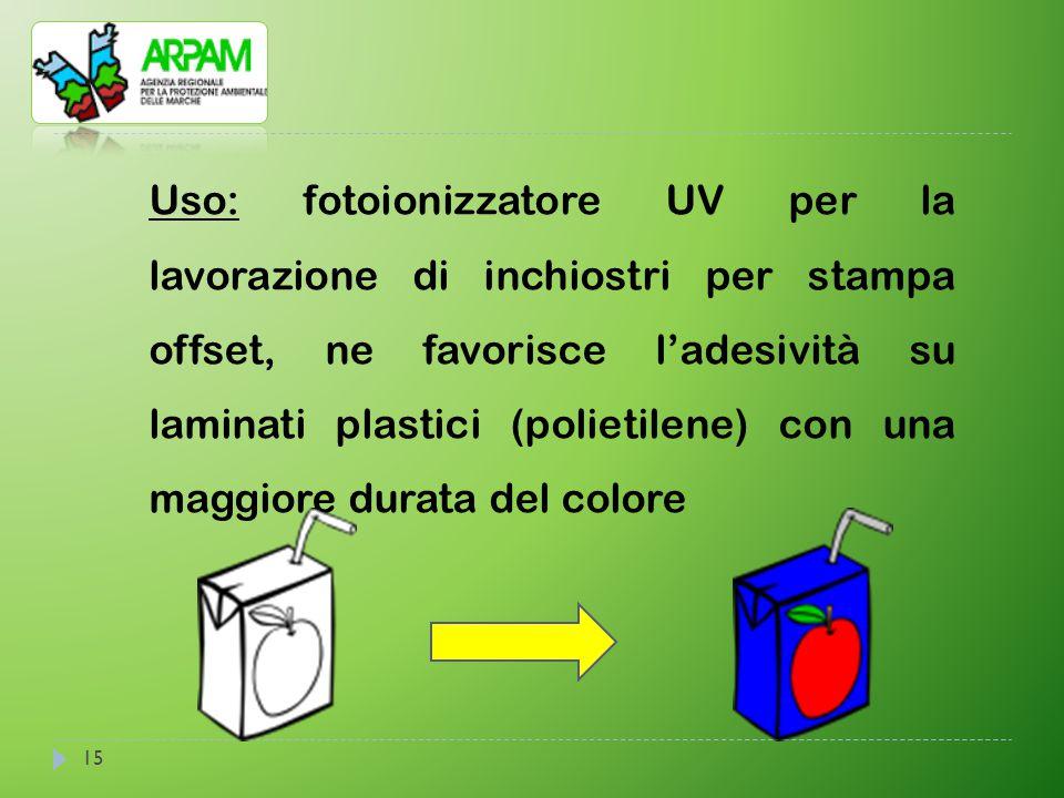 15 Uso: fotoionizzatore UV per la lavorazione di inchiostri per stampa offset, ne favorisce l'adesività su laminati plastici (polietilene) con una mag