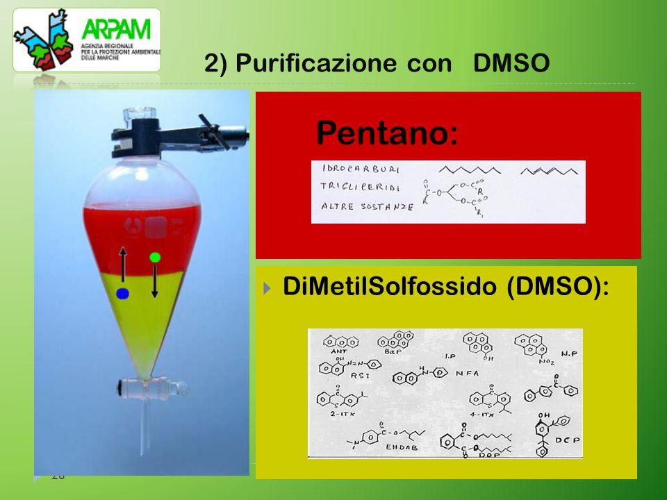 26 2) Purificazione con DMSO  DiMetilSolfossido (DMSO): Pentano: