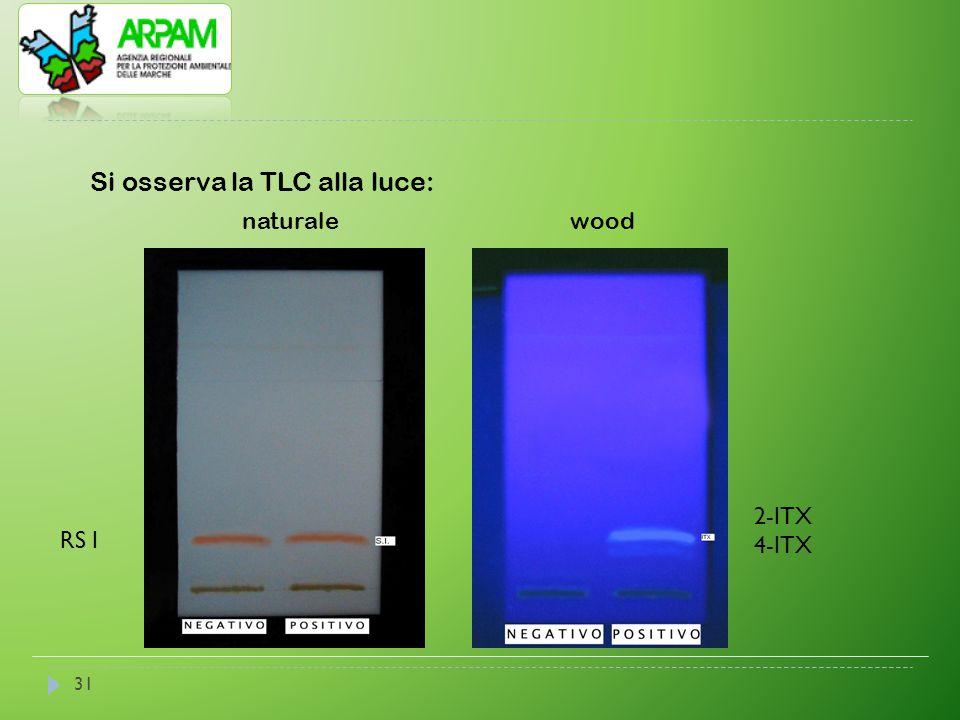 31 Si osserva la TLC alla luce: naturalewood 2-ITX 4-ITX RS I
