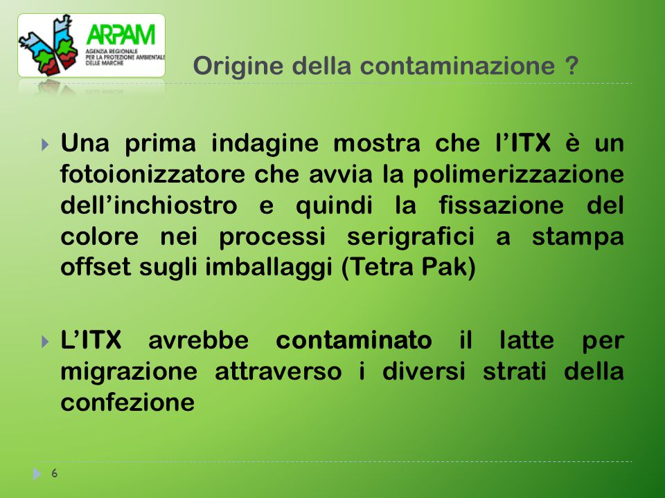 Origine della contaminazione ? 6  Una prima indagine mostra che l'ITX è un fotoionizzatore che avvia la polimerizzazione dell'inchiostro e quindi la