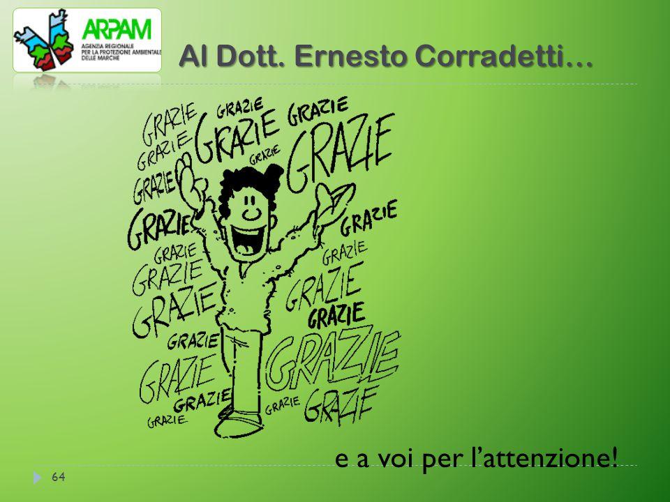 Al Dott. Ernesto Corradetti… 64 e a voi per l'attenzione!