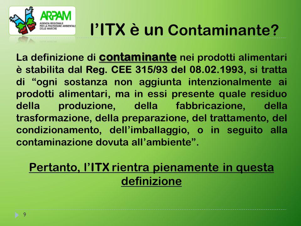 9 l'ITX è un Contaminante? contaminante La definizione di contaminante nei prodotti alimentari è stabilita dal Reg. CEE 315/93 del 08.02.1993, si trat