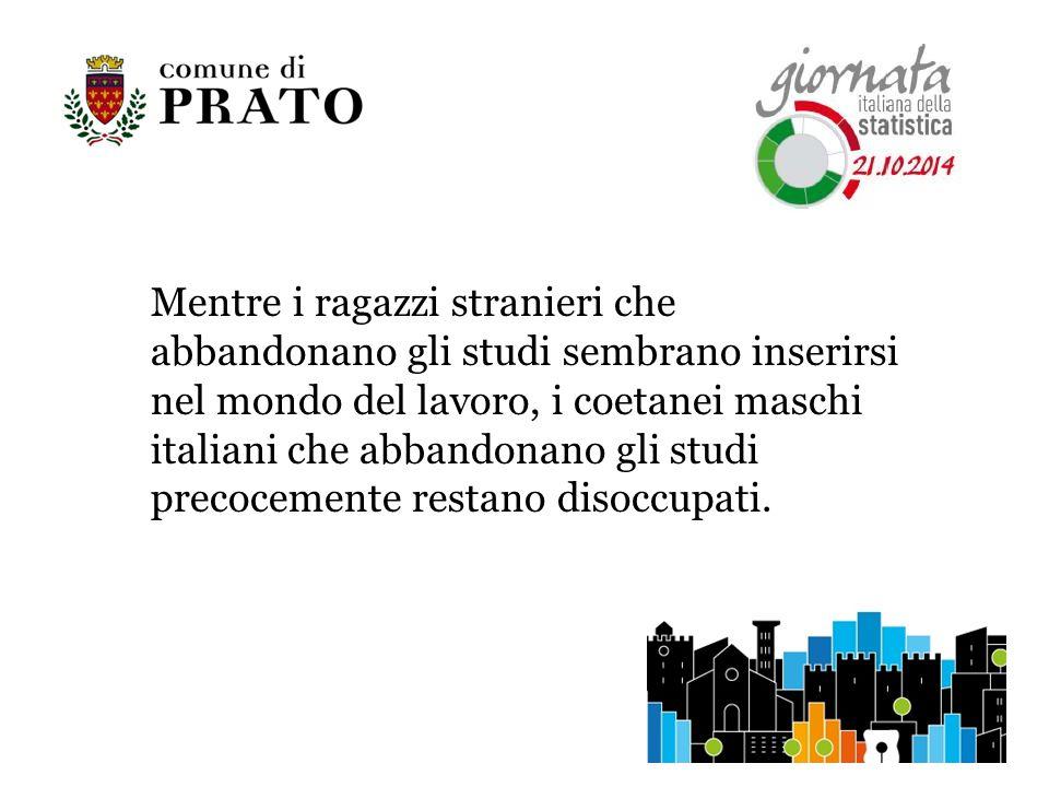 Mentre i ragazzi stranieri che abbandonano gli studi sembrano inserirsi nel mondo del lavoro, i coetanei maschi italiani che abbandonano gli studi precocemente restano disoccupati.