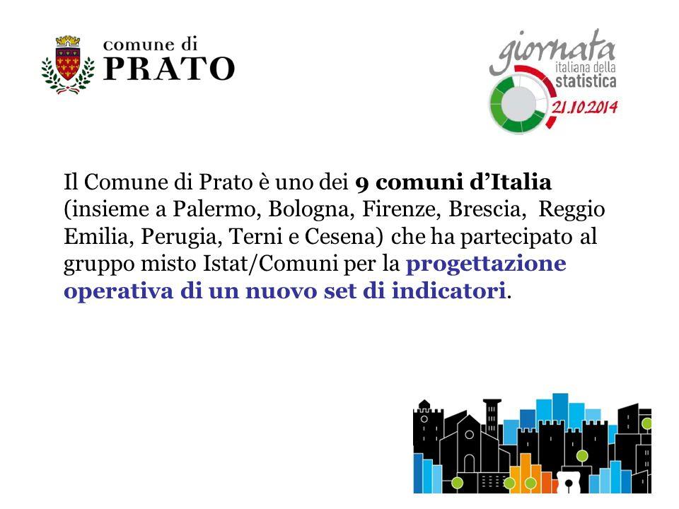 Il Comune di Prato è uno dei 9 comuni d'Italia (insieme a Palermo, Bologna, Firenze, Brescia, Reggio Emilia, Perugia, Terni e Cesena) che ha partecipato al gruppo misto Istat/Comuni per la progettazione operativa di un nuovo set di indicatori.