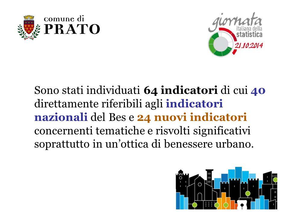Sono stati individuati 64 indicatori di cui 40 direttamente riferibili agli indicatori nazionali del Bes e 24 nuovi indicatori concernenti tematiche e risvolti significativi soprattutto in un'ottica di benessere urbano.